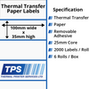 Image of 100 x 35mm Thermal Transfer Paper Labels With Removable Adhesive on 25mm Cores - TPS1000-23