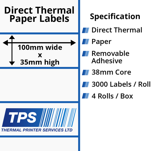 100 x 35mm Direct Thermal Paper Labels With Removable Adhesive on 38mm Cores - TPS1001-22