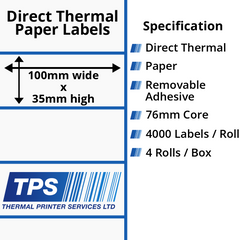 100 x 35mm Direct Thermal Paper Labels With Removable Adhesive on 76mm Cores - TPS1002-22
