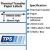 Image of 100 x 50mm Thermal Transfer Paper Labels With Permanent Adhesive on 25mm Cores - TPS1003-21