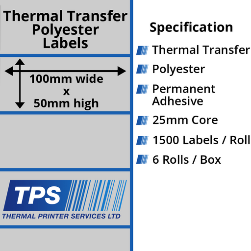 100 x 50mm Silver Polyester Labels With Permanent Adhesive on 25mm Cores - TPS1003-27