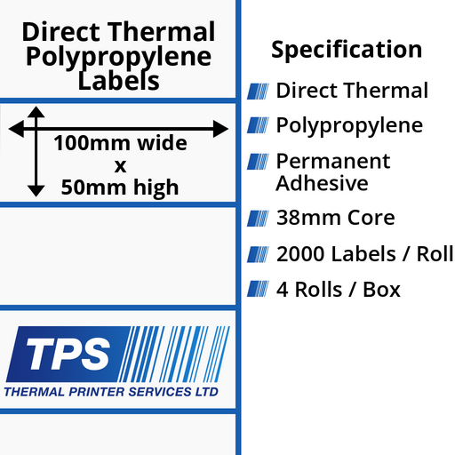 100 x 50mm Direct Thermal Polypropylene Labels With Permanent Adhesive on 38mm Cores - TPS1004-24