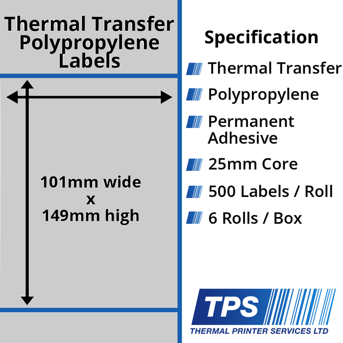 101 x 149mm Silver Polyester Labels With Permanent Adhesive on 25mm Cores - TPS1009-27