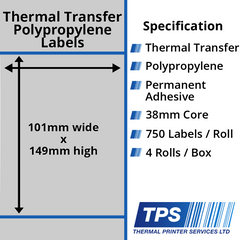 101 x 149mm Silver Polyester Labels With Permanent Adhesive on 38mm Cores - TPS1010-27