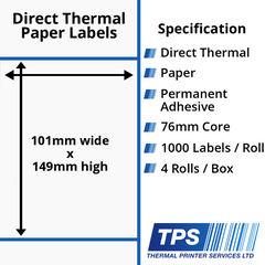 101 x 149mm Direct Thermal Paper Labels With Permanent Adhesive on 76mm Cores - TPS1011-20