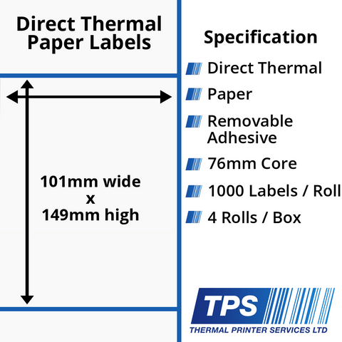 101 x 149mm Direct Thermal Paper Labels With Removable Adhesive on 76mm Cores - TPS1011-22