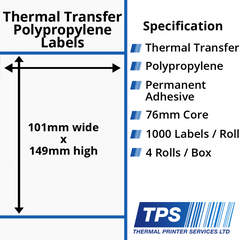 101 x 149mm Gloss White Thermal Transfer Polypropylene Labels With Permanent Adhesive on 76mm Cores - TPS1011-26