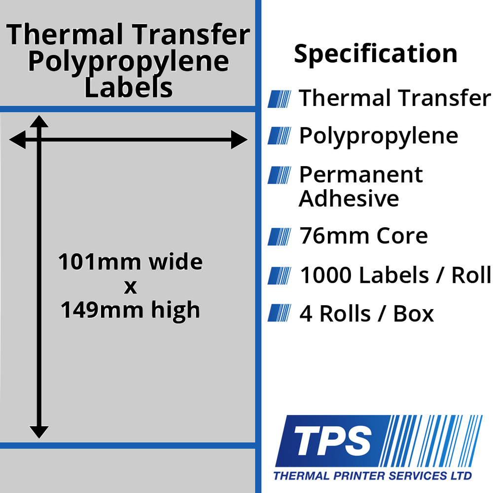 101 x 149mm Silver Polyester Labels With Permanent Adhesive on 76mm Cores - TPS1011-27