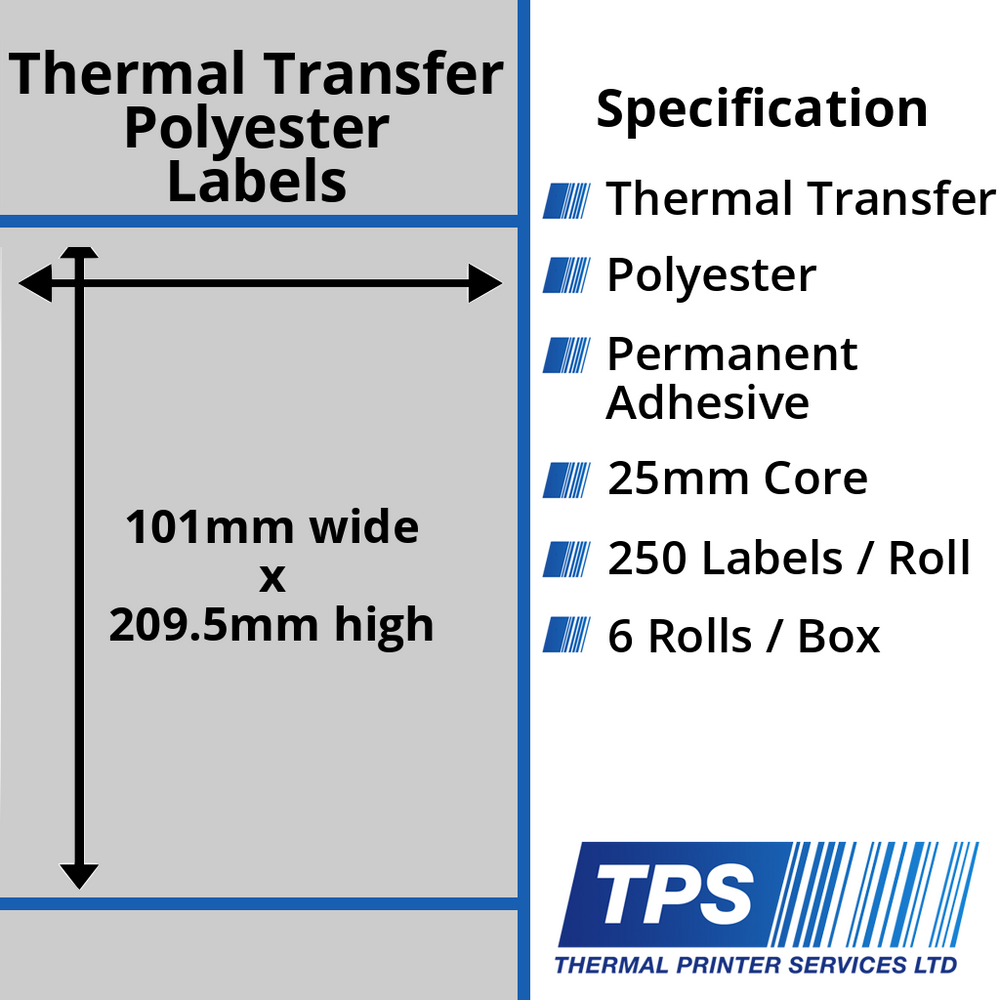 101 x 209.5mm Silver Polyester Labels With Permanent Adhesive on 25mm Cores - TPS1015-27