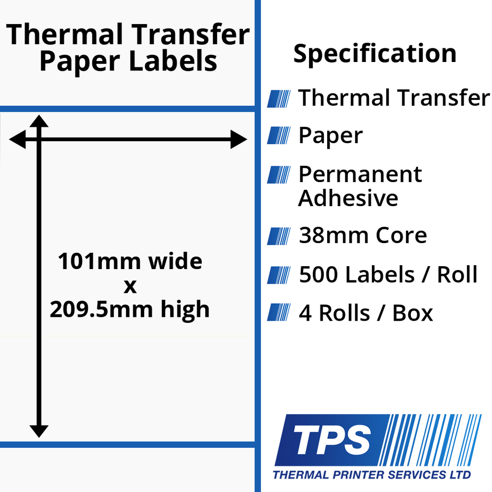 101 x 209.5mm Thermal Transfer Paper Labels With Permanent Adhesive on 38mm Cores - TPS1016-21