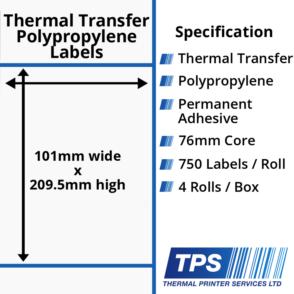 101 x 209.5mm Gloss White Thermal Transfer Polypropylene Labels With Permanent Adhesive on 76mm Cores - TPS1017-26