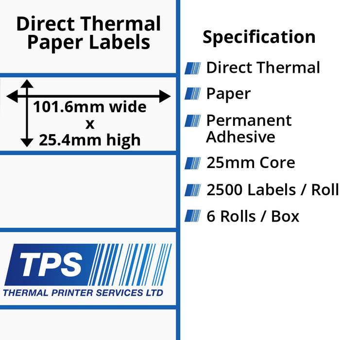 101.6 x 25.4mm Direct Thermal Paper Labels With Permanent Adhesive on 25mm Cores - TPS1021-20