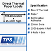Image of 101.6 x 25.4mm Direct Thermal Paper Labels With Removable Adhesive on 25mm Cores - TPS1021-22