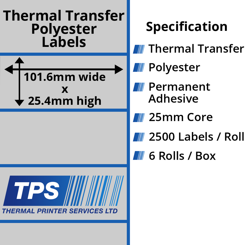 101.6 x 25.4mm Silver Polyester Labels With Permanent Adhesive on 25mm Cores - TPS1021-27