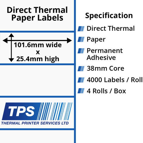 101.6 x 25.4mm Direct Thermal Paper Labels With Permanent Adhesive on 38mm Cores - TPS1022-20
