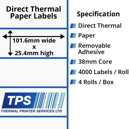 101.6 x 25.4mm Direct Thermal Paper Labels With Removable Adhesive on 38mm Cores - TPS1022-22