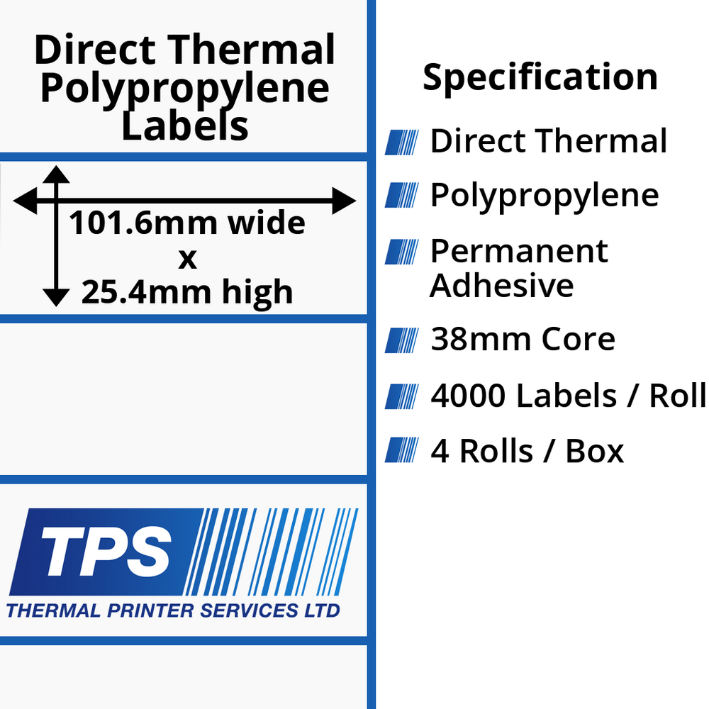 101.6 x 25.4mm Direct Thermal Polypropylene Labels With Permanent Adhesive on 38mm Cores - TPS1022-24