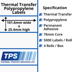 101.6 x 25.4mm Gloss White Thermal Transfer Polypropylene Labels With Permanent Adhesive on 76mm Cores - TPS1023-26