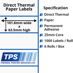 101.6 x 63.5mm Direct Thermal Paper Labels With Permanent Adhesive on 25mm Cores - TPS1024-20