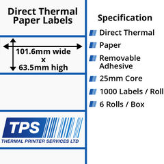 101.6 x 63.5mm Direct Thermal Paper Labels With Removable Adhesive on 25mm Cores - TPS1024-22