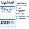 Image of 101 x 73mm Direct Thermal Paper Labels With Removable Adhesive on 25mm Cores - TPS1027-22