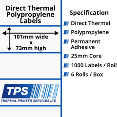 101 x 73mm Direct Thermal Polypropylene Labels With Permanent Adhesive on 25mm Cores - TPS1027-24