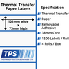 Image of 101 x 73mm Thermal Transfer Paper Labels With Removable Adhesive on 38mm Cores - TPS1028-23