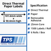 Image of 101.6 x 50.4mm Direct Thermal Paper Labels With Removable Adhesive on 25mm Cores - TPS1042-22