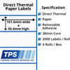 Image of 101.6 x 50.4mm Direct Thermal Paper Labels With Removable Adhesive on 38mm Cores - TPS1043-22