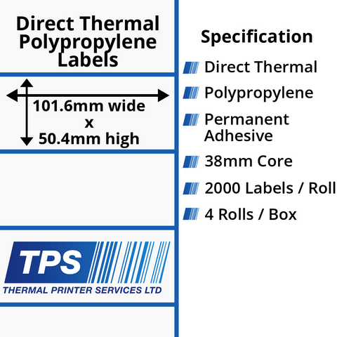 101.6 x 50.4mm Direct Thermal Polypropylene Labels With Permanent Adhesive on 38mm Cores - TPS1043-24