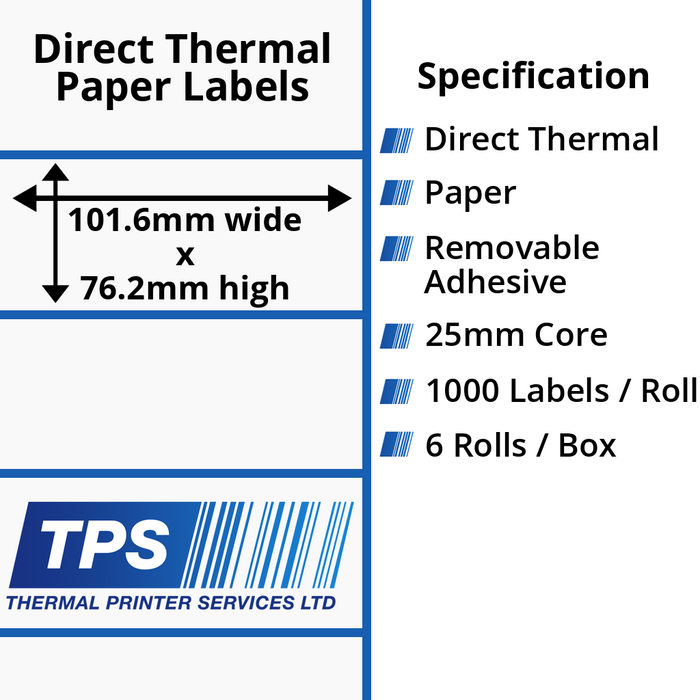 101.6 x 76.2mm Direct Thermal Paper Labels With Removable Adhesive on 25mm Cores - TPS1045-22