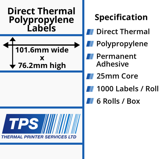 101.6 x 76.2mm Direct Thermal Polypropylene Labels With Permanent Adhesive on 25mm Cores - TPS1045-24