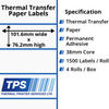 Image of 101.6 x 76.2mm Thermal Transfer Paper Labels With Permanent Adhesive on 38mm Cores - TPS1046-21