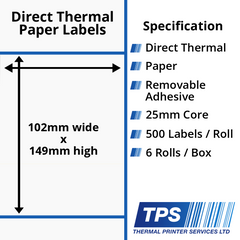 102 x 149mm Direct Thermal Paper Labels With Removable Adhesive on 25mm Cores - TPS1054-22