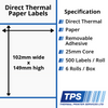 Image of 102 x 149mm Direct Thermal Paper Labels With Removable Adhesive on 25mm Cores - TPS1054-22