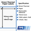 Image of 102 x 149mm Direct Thermal Paper Labels With Removable Adhesive on 76mm Cores - TPS1056-22
