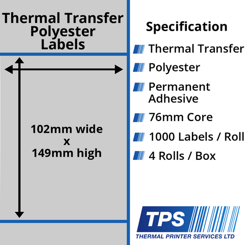 102 x 149mm Silver Polyester Labels With Permanent Adhesive on 76mm Cores - TPS1056-27