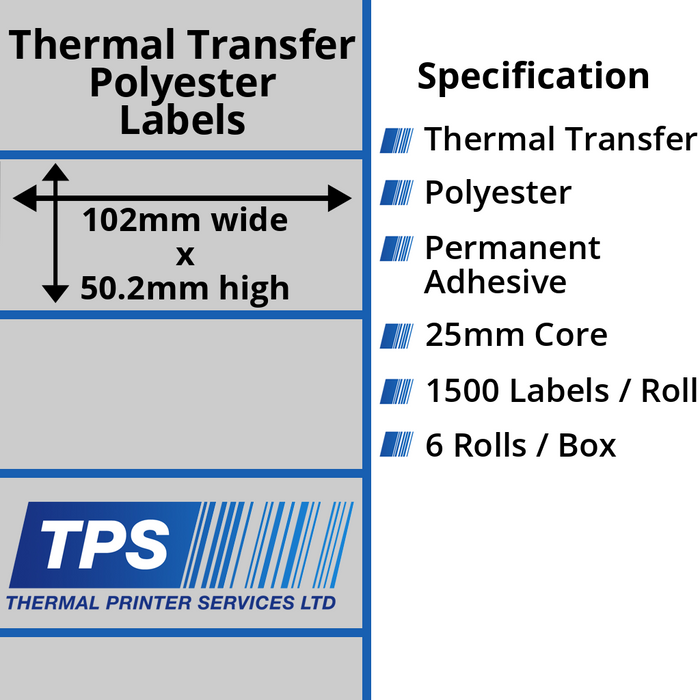 102 x 50.2mm Silver Polyester Labels With Permanent Adhesive on 25mm Cores - TPS1057-27