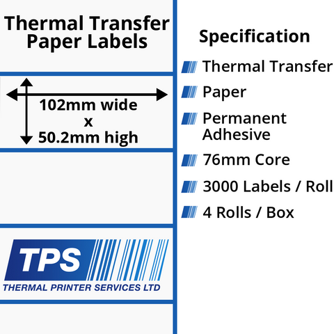 102 x 50.2mm Thermal Transfer Paper Labels With Permanent Adhesive on 76mm Cores - TPS1059-21