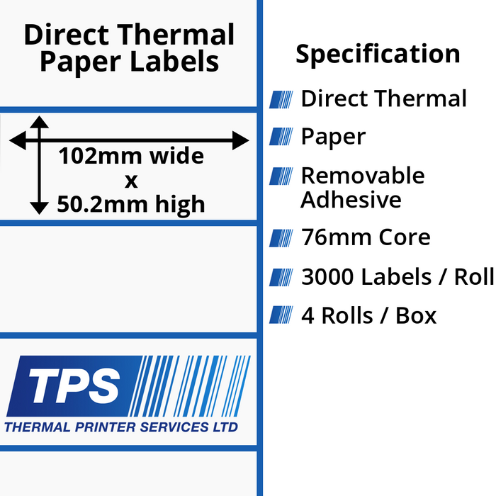 102 x 50.2mm Direct Thermal Paper Labels With Removable Adhesive on 76mm Cores - TPS1059-22