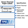 Image of 102 x 50.2mm Direct Thermal Paper Labels With Removable Adhesive on 76mm Cores - TPS1059-22