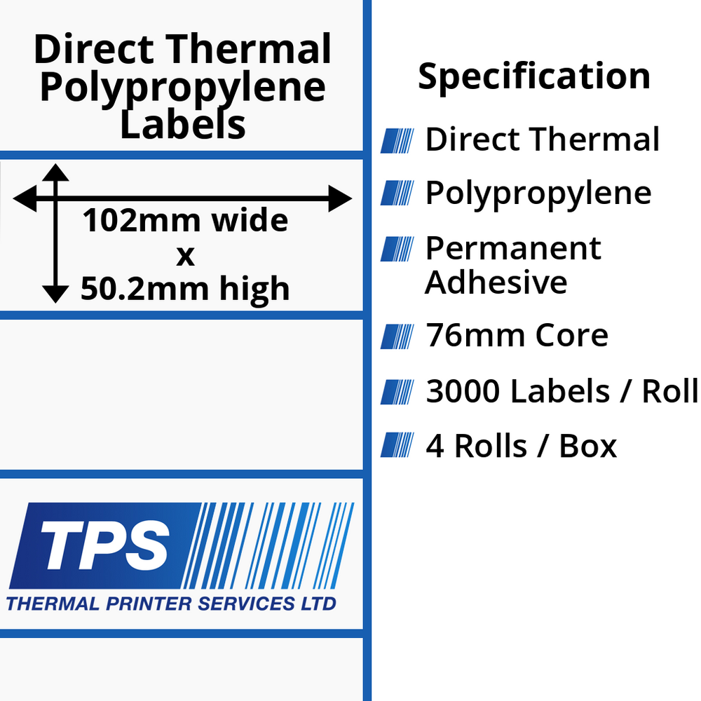 102 x 50.2mm Direct Thermal Polypropylene Labels With Permanent Adhesive on 76mm Cores - TPS1059-24
