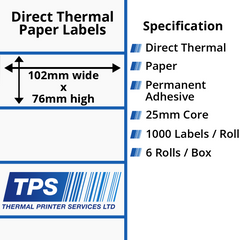 102 x 76mm Direct Thermal Paper Labels With Permanent Adhesive on 25mm Cores - TPS1060-20