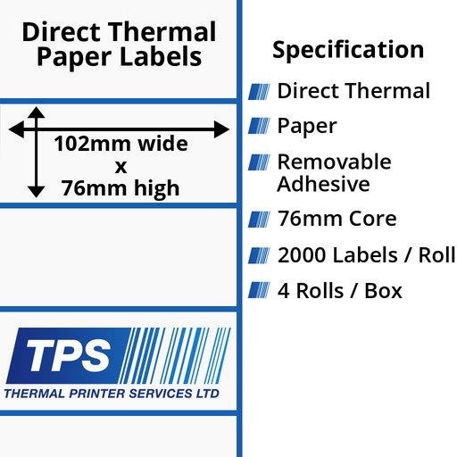 102 x 76mm Direct Thermal Paper Labels With Removable Adhesive on 76mm Cores - TPS1062-22
