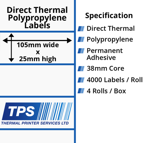 105 x 25mm Direct Thermal Polypropylene Labels With Permanent Adhesive on 38mm Cores - TPS1064-24