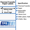 Image of 105 x 25mm Thermal Transfer Paper Labels With Removable Adhesive on 76mm Cores - TPS1065-23