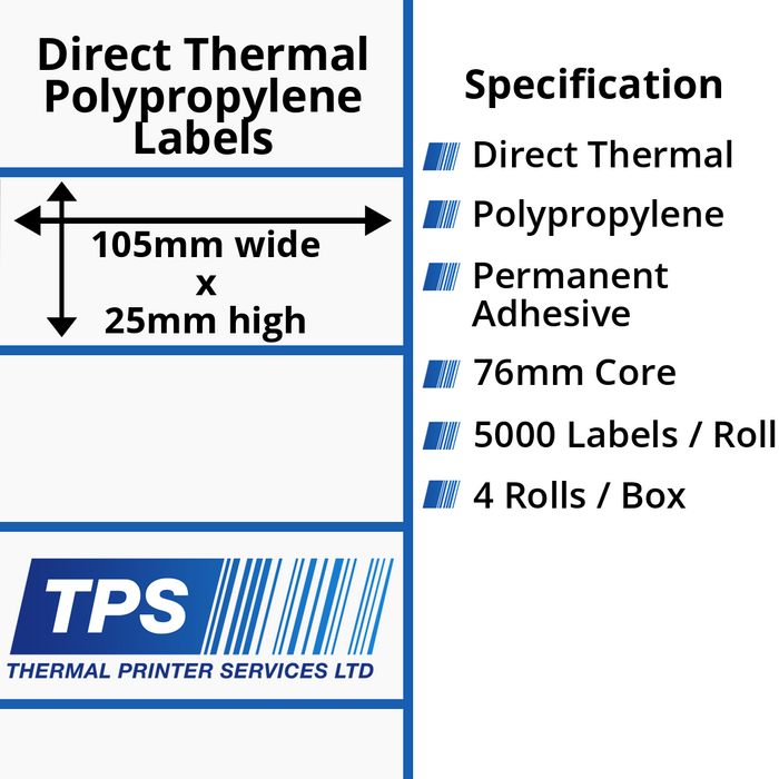105 x 25mm Direct Thermal Polypropylene Labels With Permanent Adhesive on 76mm Cores - TPS1065-24