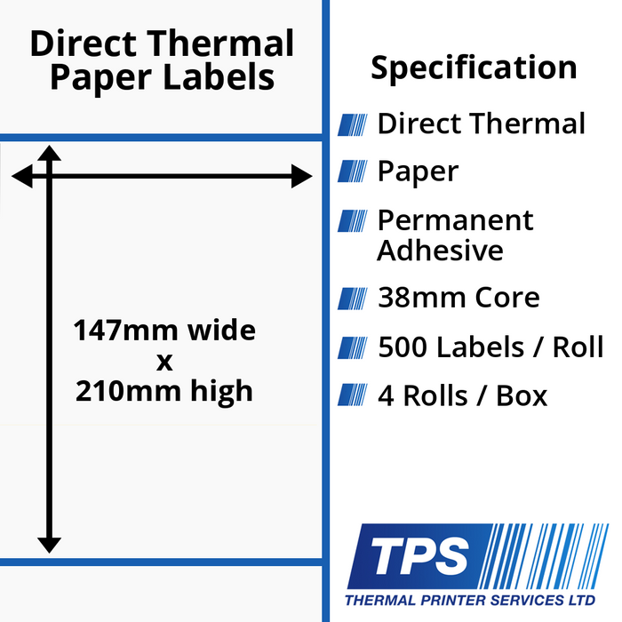 147 x 210mm Direct Thermal Paper Labels With Permanent Adhesive on 38mm Cores - TPS1076-20