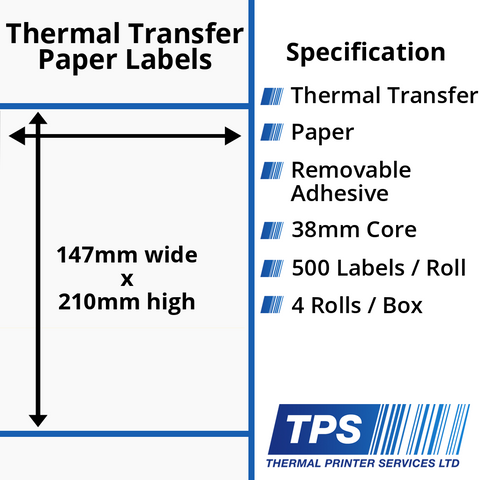 147 x 210mm Thermal Transfer Paper Labels With Removable Adhesive on 38mm Cores - TPS1076-23