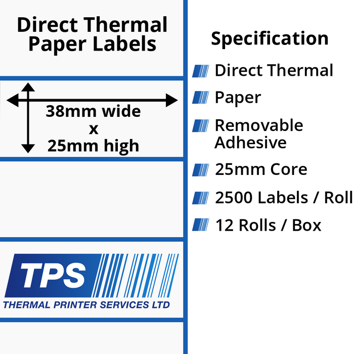 38 x 25mm Direct Thermal Paper Labels With Removable Adhesive on 25mm Cores - TPS1096-22